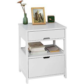 SoBuy Home Holz Nachttisch mit 2 Schubladen, weiß, FRG258-W