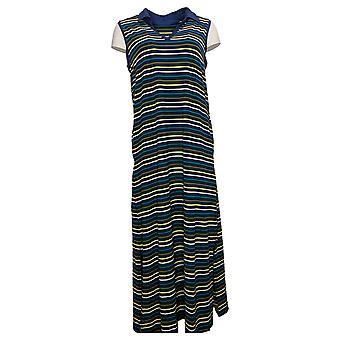 Cuddl Duds Dress Flexwear Polo Tank Maxi Vestido Azul A373517