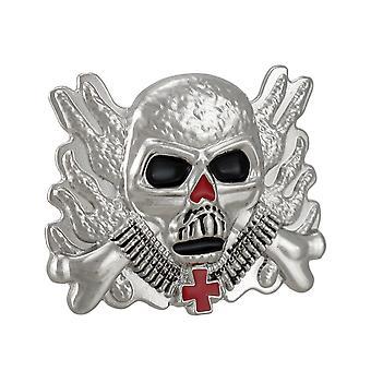 Chrome & Enamel Flaming Soldier Skull Belt Buckle