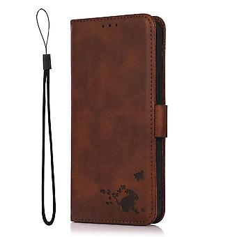 Case For Samsung Galaxy A20/a30 Wallet Flip Pu Leather Cover Card Holder Coque Etui - Brown Cat