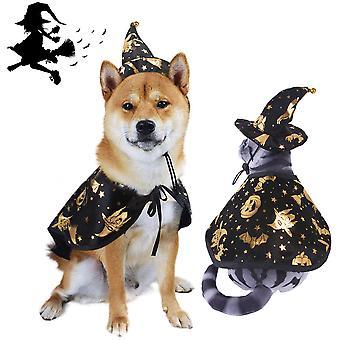 Homemiyn 2 stuks huisdier Halloween kostuum huisdier wizard hoed wizard mantel cape voor Halloween party, huisdier cosplay