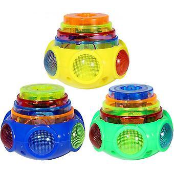 Brinquedo rotativo de 6 peças led gyro top luminoso