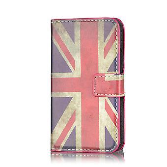 Design bok läder fallet täcker för Samsung Galaxy S4 Zoom C1010 - Union Jack UK flaggan