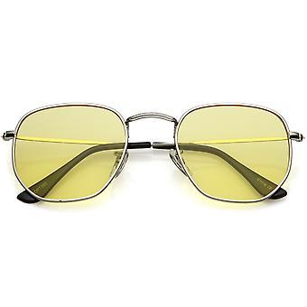 Moderne geometrische zeshoekige zonnebril Metal slanke armen gekleurde getinte vlakke Lens 51mm