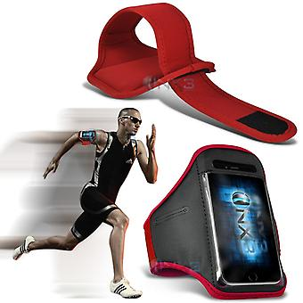 Samsung Galaxy J5 Fitness Running Jogging Cycling Gym Armband Holder Case Cover (Red)