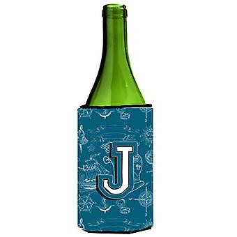 Letter J Sea Doodles Initial Alphabet Wine Bottle Beverage Insulator Hugger