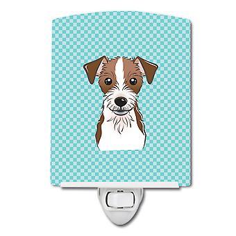 Checkerboard Blue Jack Russell Terrier Ceramic Night Light