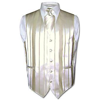 Herren Weste Kleid & Krawatte gewebt gestreiften Hals Krawatte Set