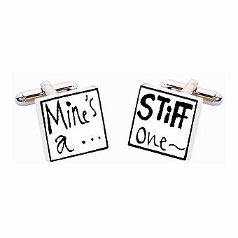Mine's A Stiff One Cufflinks by Sonia Spencer, in Presentation Gift Box. Hand painted