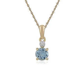 Classic Round Blue Topaz & Diamond Pendant Necklace in 9ct Yellow Gold 135P1641059