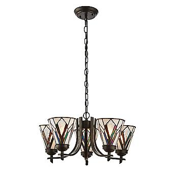 Interiors 1900 Astoria 5 Uplight Tiffany Chandelier With Multi Coloured Glass