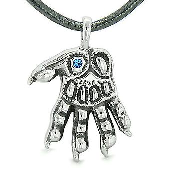 WereWolf Supernatural Power Courage All Seeing Eye Royal Blue Crystal Wolves Paw Pendant Necklace