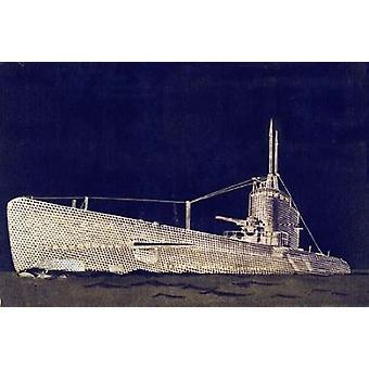 Stampa del manifesto di Blueprint II sottomarino da Studio PI (12x18)
