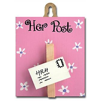 Angelic Hen Her Post Wooden Letter Holder Peg