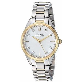 Bulova Women's Diamond Mother-of-pearl Two Tone Case 98P184 Watch