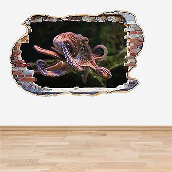 Full Colour Octopus Smashed Wall 3D Effect Wall Sticker