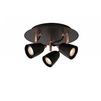 Lucide Fahrt-LED moderne Runde Metall Kupfer und Black Spot Deckenleuchte