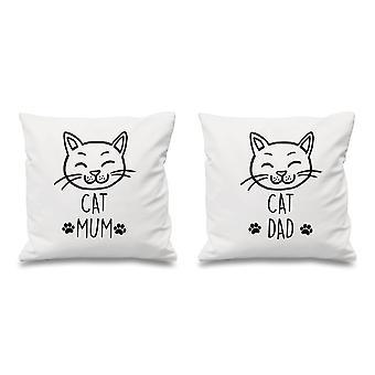 Cat Mum Cat Dad White Cushion Covers 16