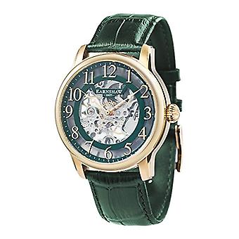 Thomas Earnhshaw Longitude ES-8062-06 mechanical wrist green skeleton dial and leather strap Green