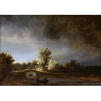 Landscape with a Stone Bridge,Rembrandt,60x40cm
