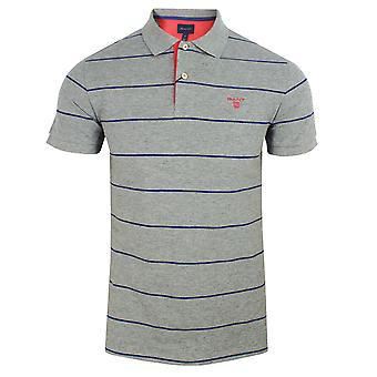 Gant 3 colour pique rugger men's grey polo shirt