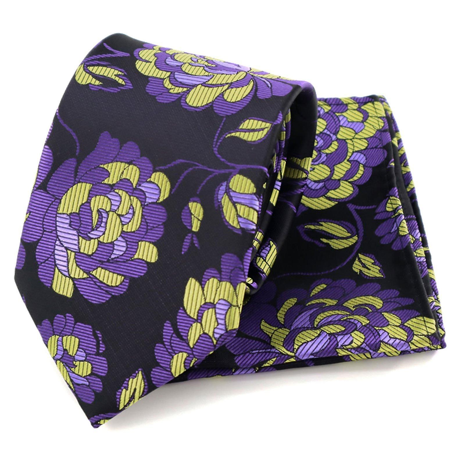 Purple & yellow floral pattern tie & pocket square set