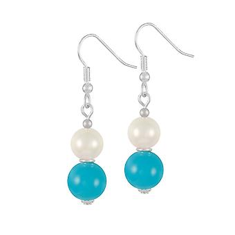 Éternelle Collection duo Turquoise & Shell perles Sterling Silver Drop boucles d'oreilles