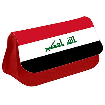 Iraq Flag Printed Design Pencil Case for Stationary/Cosmetic - 0080 (Red) by i-Tronixs