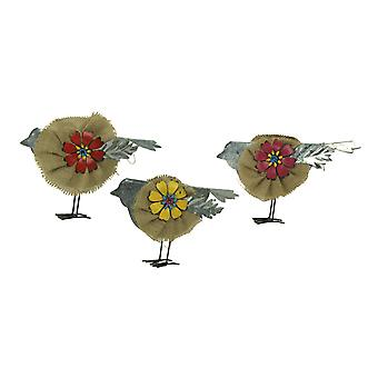Metal and Burlap Rustic Flower Bird Sculptures Set of 3