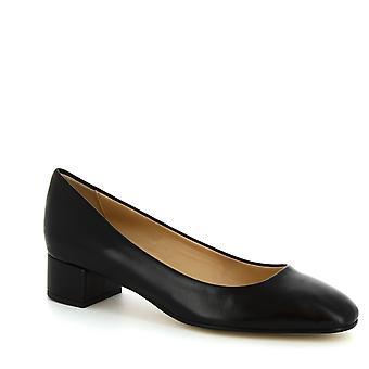 Leonardo Shoes Femme orteil carré à talon bas pompes à talon noir napa
