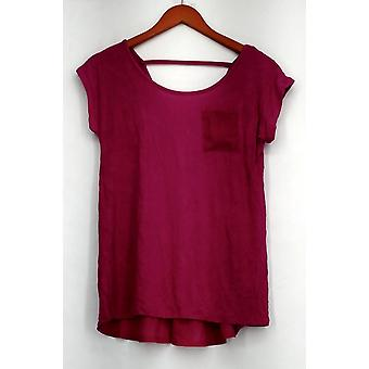 Kate et Mallory Top High Low Top w/ V-Neck et Bar Back Purple Womens A417057