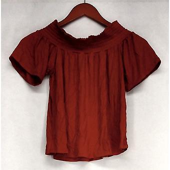 Ultra Flirt Top Cap Sleeve Shirring Neckline Knit Red Womens