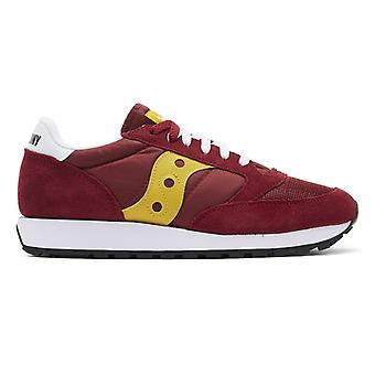 Saucony Jazz Original Vintage Mens Maroon / Yellow Trainers