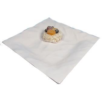 Ceramika beczka biała falisty talerz