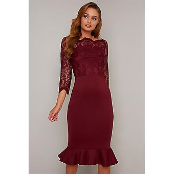 Burgundy Lace Detail Frill Hem Dress