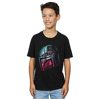 Star Wars Boys The Mandalorian Mandalore Helmet Reflection T-Shirt