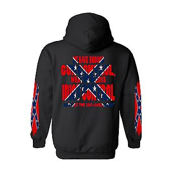 Men's Rebel Flag Zip-Up Hoodie What We Need Is Idiot Control