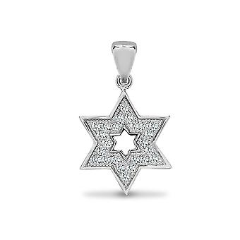 Jewelco London Solid 18ct White Gold Pave Set Round G SI1 0.14ct Diamond Magen Star of David Charm Pendant