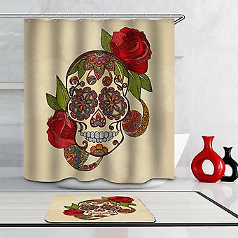 Stained Glass Skull And Roses Shower Curtain