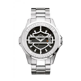 Harley Davidson 76B143 Men's Black Dial Hinged Cover Wristwatch