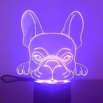 法国斗牛犬面部颜色改变 LED 丙烯酸灯
