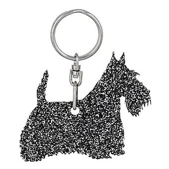 Black Scottish Terrier Style 3 Glitter Acrylic Keyring