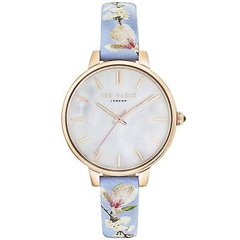 Ted Baker Kate Quartz Silver Dial Blue Floral Leather Strap Ladies Watch TE50005018