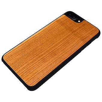 For iPhone 8 PLUS,7 PLUS Case,Smooth Cherry Wooden Durable Shielding Cover,Black