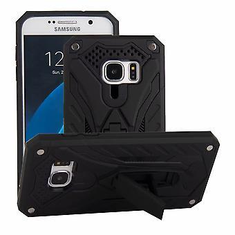 Para la caja Samsung Galaxy S7, armadura fuerte a prueba de golpes Tough Cover Kickstand Negro