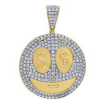 925 hombres de plata de ley de dos tonos CZ Cubic Zirconia simulado diamante emboli dólar signo ojos colgante collar joyería G