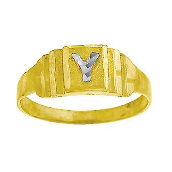 10k Two tone Gold baby voor jongens of meisjesLetter Naam Gepersonaliseerde Monogram Initial Y Band Ring Measures 6.3x2.50mm Wide S