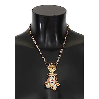 Dolce & Gabbana Gold Brass Sicily Crystal Puppi Doll Necklace