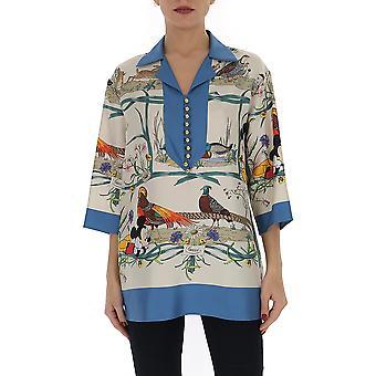 Gucci 596712zadoo9683 Women's Blusa de Seda Multicolor