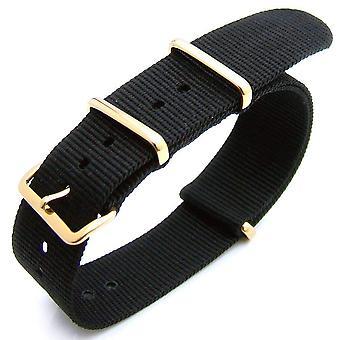 Strapcode n.a.t.o katsella hihna 20mm lämpö suljettu raskas nylon käsivarsinauha 316l ip kulta solki - musta